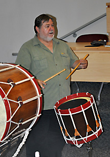 man playing a snare drum