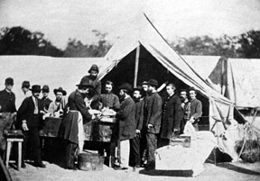 Civil War soldiers at a tent