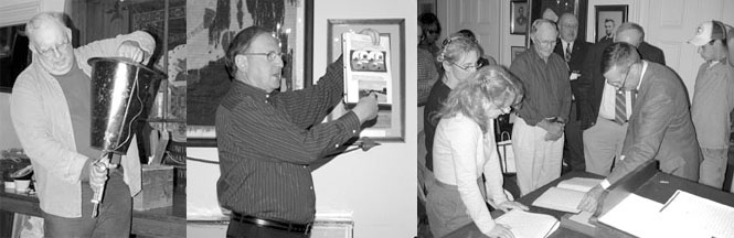 three photos of people doing show and tell
