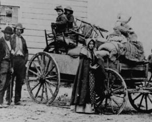 Civilians and wagon