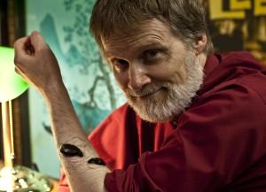 Robert Hicks with leeches