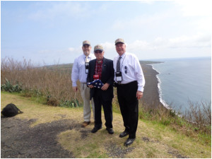 Steven Wright (L) and Bill Holdsworth (R) on Mount Suribachi, Iwo Jima, flanking their friend and Iwo Jima survivor, Carl DeHaven. Mr. DeHaven (of League City, TX) served with the Fifth Marines on Iwo Jima and Guam.